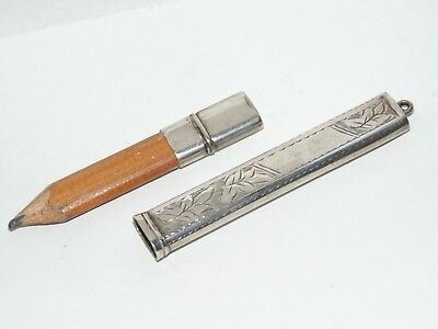 ANTIQUE 1919 CHESTER SILVER CASED PENCIL for CHATELAINE or POCKET WATCH CHAIN