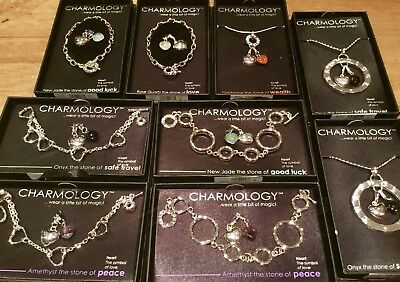 Job Lot Wholesale Charmology Gemstone Silver Dip Bracelets With Charms Boxed