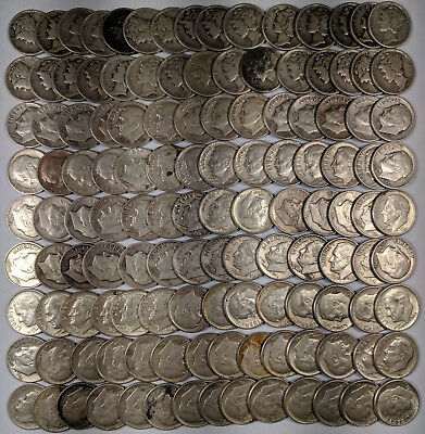 128 Mercury & Roosevelt Dimes (Nice Variety 1936 - 1964) - 90% Silver Us Coins
