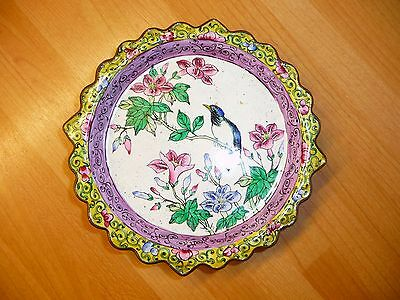 Vintage Chinese Canton Copper Dish Plate Tray Bird Scalloped Edge Famille Rose