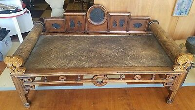 Antique 19th Century Chinese Hardwood Daybed Opium Bed