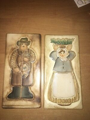 """2 Primitive Country Style Tiles From Buck Owens Old House 8 7/8"""" Hx4 3/8w1/4""""Th"""