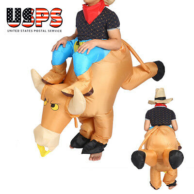 Inflatable bull Animal Riding Adult Unisex Halloween Costume Fancy Dress Suit