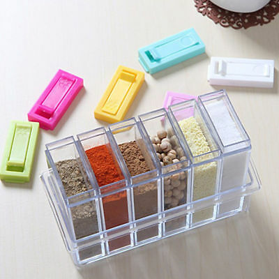 6ps/Set Seasoning Bottle Box Jar Condiment Storage Container Rack Herb Spice Jar