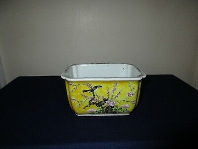 Chinese Porcelain Famille Rose Yellow Bird Small Planter China 6 Character Mark