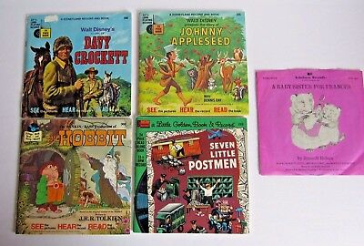 DISNEY'S BOOK AND RECORD READ-A-LONG 33 1/3 RPM LOT OF 4 VINTAGE!  1970'S +Bonus