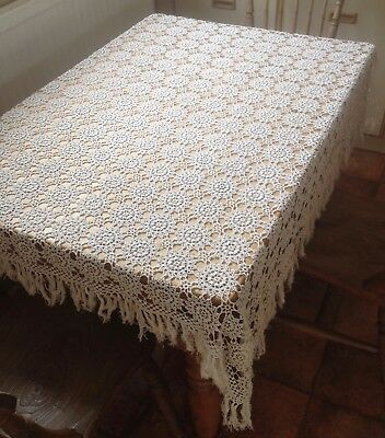 Pretty Vintage French Handmade Crochet Lace Tablecloth
