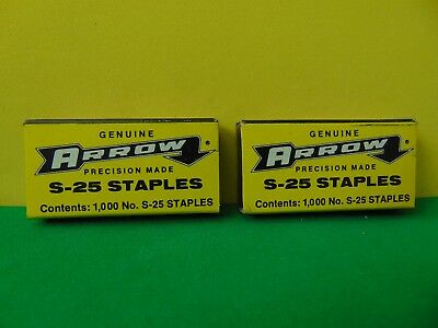 Lot of 2 Vintage Genuine Arrow S25 Staples 1000 each New in boxes