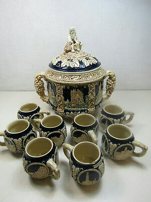 Huge Gerz Germany Stoneware Pottery Punch Bowl & 8 Cup Set German Castle Reliefs