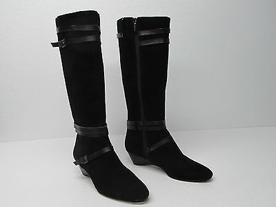 BANDOLINO ABRIELLE BLACK SUEDE LEATHER KNEE HIGH WEDGE BOOTS Sz WOMEN'S 8.5  M
