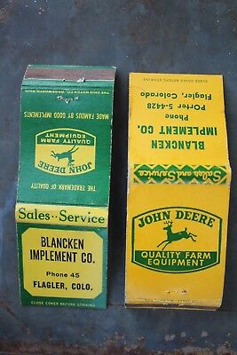 Two Vintage John Deere Dealership Flagler Colorado Matchbook Covers Advertising