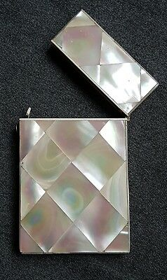Antique Victorian Edwardian mother of pearl card veneer decorative case