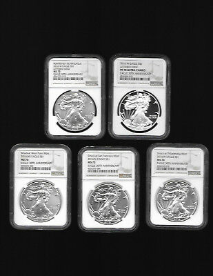2016 American Silver Eagles 5 coin set (P) (S) (W) (W) (W)  NGC MS70,PF70 RARE!