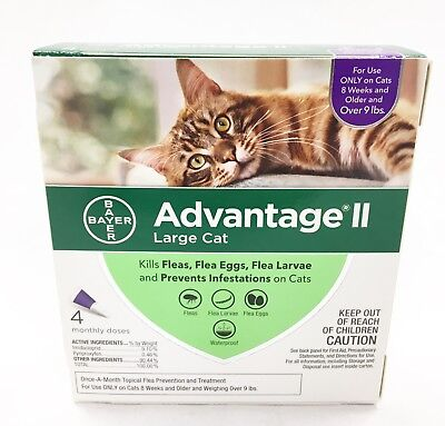 Bayer Advantage II For Cats 10lbs & Over 4 Pack EPA APPROVED