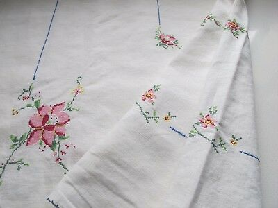 Vintage Square  Hand Embroidered Tapestry Linen table cloth
