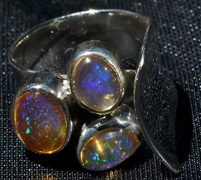 MEXICAN NATURAL MATRIX FIRE OPAL 950 STERLING SILVER RING Sz 5-6 TAXCO JEWELRY