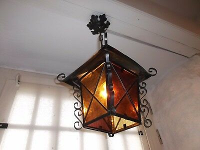 French  ceiling light lantern  glass panels charming vintage