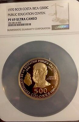 1970 Costa Rica 500 Colones Public Education Centennial NGC PFUC 69 TOP 1 of 3