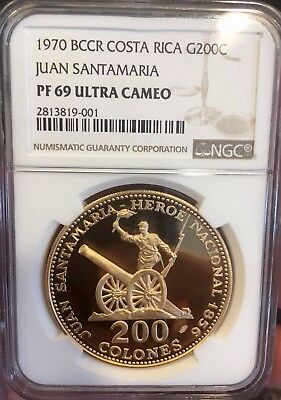 1970 Costa Rica 200 Colones Juan Santamaria NGC PFUC 69 1 of 3