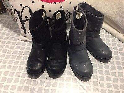 Gymboree Girls Back To Blooms Black And Gray Boot Lot Size 11 Youth Fall Winter