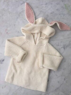 Oeuf NYC Cotton Bunny Hoodie Sweater Baby Infant 12m 1Y Knit Rabbit Ears Cream