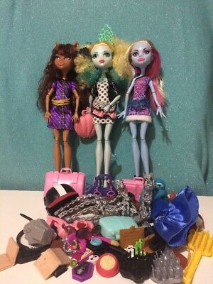 3 x Monster High Dolls - Clawdeen, Lagoona & Abbey + Loads Of Accessories