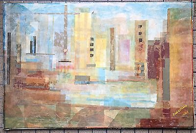 Vtg 60s Abstract Geometric Cubist Cityscape Collage Signed Mid Century Modern