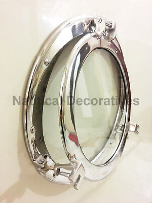 "Canal Boat 17"" Porthole Window Nickel Finish~Wall Window Glass Porthole Decor"