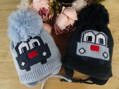 Baby Boys Car Knitted Pom-Pom Pull On Beanie Hat Ties Lined 3-6-12 mths