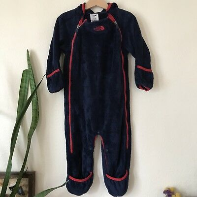 The North Face Baby Boys Girls Blue Red Fleece One Piece Sleeper Bunting 18-24m