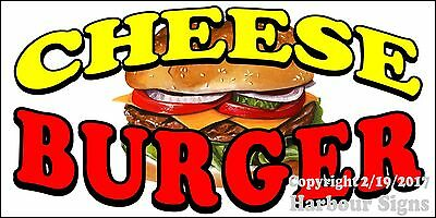 "Cheese Burger Decal 24"" Hamburger Food Truck Restaurant Concession Vinyl Sign"