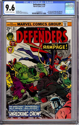 DEFENDERS #18 CGC 9.6 OW/WHITE PAGES ORIGIN & 1st FULL WRECKING CREW 1974