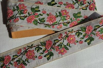 2.98_Yds_Antique_Embroidered_French_Silk_Brocade_Ribbon_N.o.s_Made_In_France