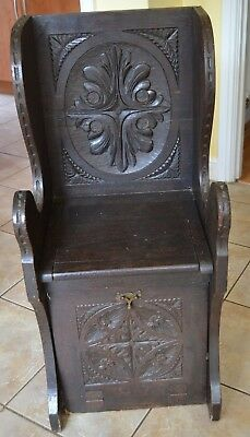Antique Victorian Ornately Carved Oak Settle Coal Scuttle Seat