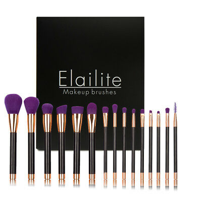 Professional 15PCs Makeup Brush Set Powder Cosmetic Tool Synthetic Black Purple