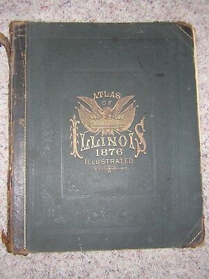 Antique Illinois, Atlas of the State 1876 Union Atlas Co. Warner and Beers Rare