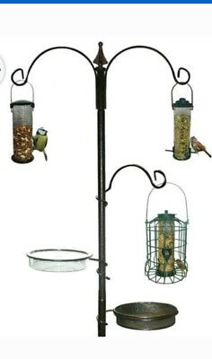 Kingfisher Traditional Bird Feeding Station Black Metal Garden Wild Birds Care