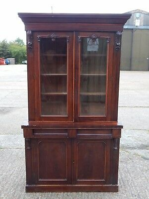 Antique Victorian glazed mahogany bookcase cabinet display unit wall dresser