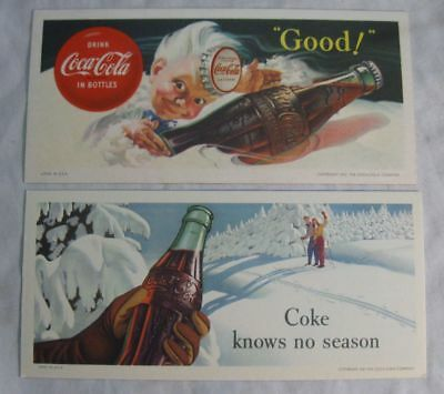 Lot Of 2 Antique Advertising Coke Coca Cola Ink Blotters 1947-1953