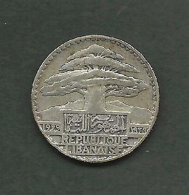 "Lebanon 1929 Silver Fifty Piasters ""scarce Xf ""cedar Tree"" #3971  Free Usa Ship"