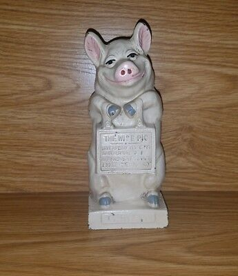 Antique Hubley Jmr Cast Iron Thrifty The Wise Pig Still Bank!