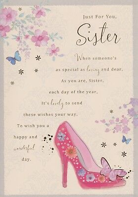 Special Sister Happy Birthday Card 8 Page Full Colour Insert Verse