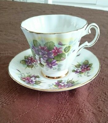 Royal Grafton Purple Violets Footed Teacup And Saucer