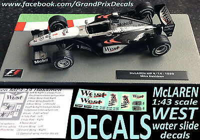 Formula F1 Car Collection water slide DECALS - WEST McLaren MP4-14 1:43 Hakkinen