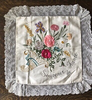 """C1914 WW1 Embroidered Souvenir Of France Pillow Cover 22"""" Square"""