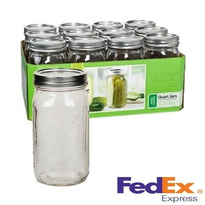 Ball Wide Mouth Glass Canning Mason Jars, Quart (32oz) Lids, Bands, 12 Count New
