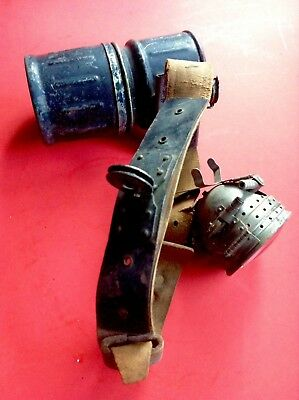 Vintage Justrite Polygon Belt Generator Lamp W/ Lens & Leather Strap Miners NICE