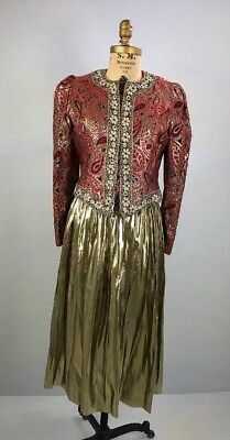 DV- Vintage 80s Partique red long puffy sleeve brocade gold metallic jacket-S/M