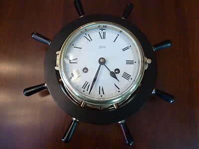 Vintage Schatz Royal Mariner Full Sized Ships Bell Wheel 8 Day Brass Clock