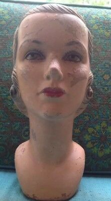 Vintage Antique Art Deco Plaster Mannequin Millinery Head Beauty Display Blonde